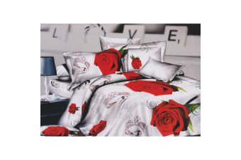 White & Red Rose/Diamond Ring Printed Bedding Set Collection (White/Red) (Double Duvet Set)