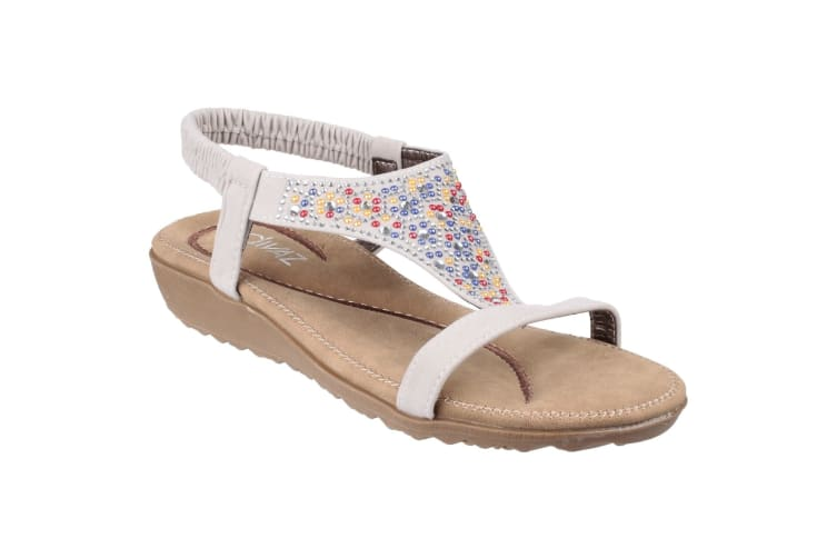 Divaz Womens/Ladies Nicosia Elasticated T Bar Sandal (White) (6.5 UK)