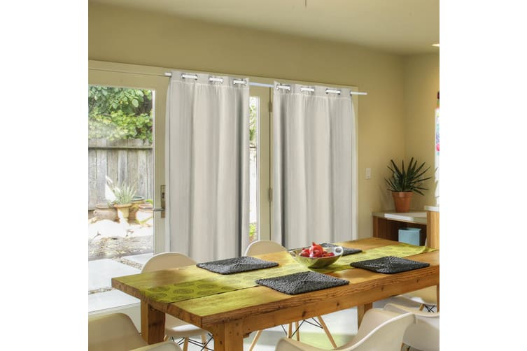 2X Blockout Curtains Panels Blackout 3 Layers Room Darkening Pure With Gauze NEW  -  Sand240X230cm (WxH)