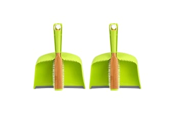 2PK Full Circle Clean Team Brush Sweeper & Dustpan Home Floor Desk Cleaning Set
