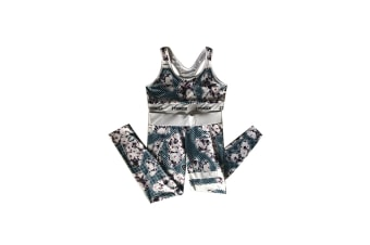 2 Pieces Floral Print Tracksuit Yoga Legging Crop Top Suit For Mother And Daughter - 3 Xl