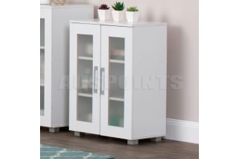 White Storage Cabinet Organizer Double Door Tall Shelf Cupboard Display
