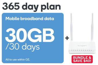 Kogan Mobile Broadband Bundle: 4G Modem Router & 365 Day DATA M Voucher Code (30GB Per 30 Days)