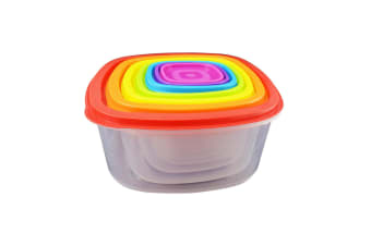7Pc Food Storage Box Set Plastic Container Lid Stackable Rainbow Square BPA Free
