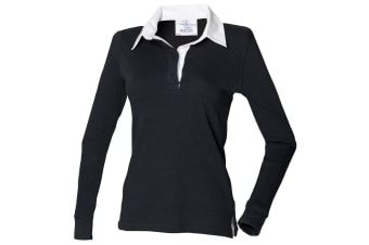 Front Row Womens/Ladies Long Sleeve Plain Sports Rugby Polo Shirt (Black/White)
