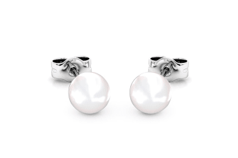 Purity Pearl Stud Earrings w/Swarovski Crystals-White Gold/Pearl