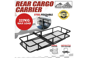 SAN HIMA Cargo Carrier Luggage Basket Car Rack Foldable Hitch Mount Steel Mesh