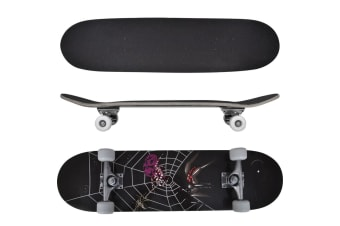 vidaXL Oval Shape Skateboard 9 Ply Maple Spider Design 8""