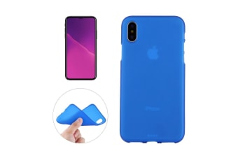 For iPhone XS X Case Blue Frosted Solid Colour TPU Back Cover Cover
