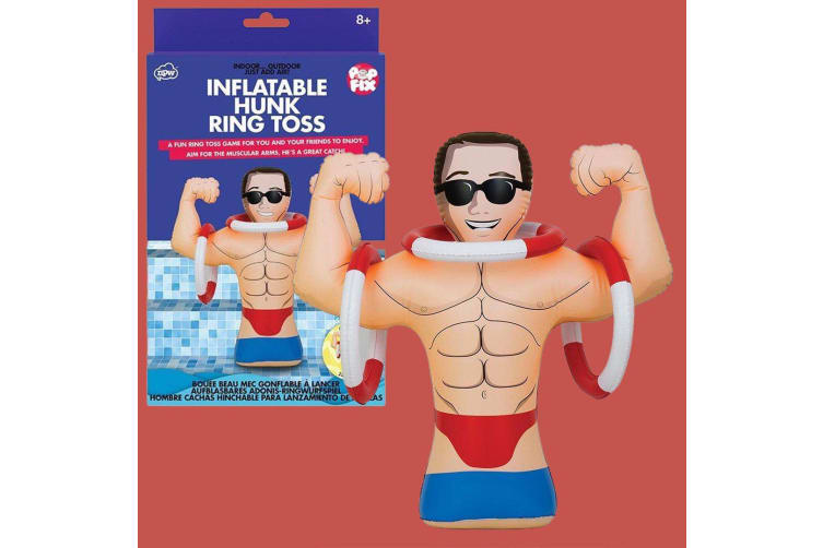 Inflatable Hunk Muscley Man Ring Toss Pool Game | He`s a Great Catch!