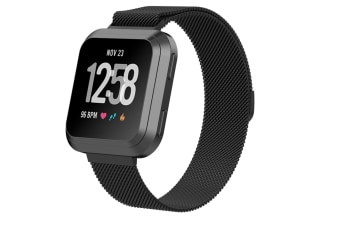 Milanese Loop Metal Replacement Bracelet Strap Wristbands For Fitbit Versa Fitness Smart Watch Black Small Size