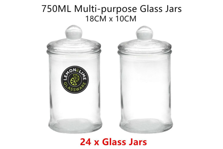 24 x Glass Apothecary Jar 750ML Round 18x10cm Storage Container Food Snack Candy