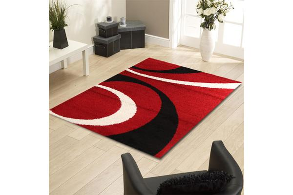 Urban Curves Shag Rug Red Black 230x160cm