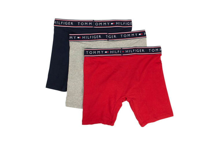 Tommy Hilfiger Men's Cotton Stretch Boxers - 3 Pack (Mahogany, Size S)