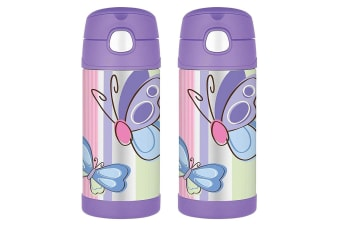 2PK Thermos Funtainer 355ml Insulated Stainless Steel Water Bottle Butterfly PP