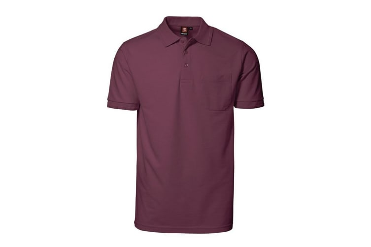 ID Mens Pro Wear Short Sleeve Regular Fitting Polo Shirt With Pocket (Bordeaux) (5XL)