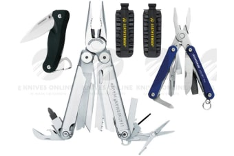 LEATHERMAN WAVE MULTITOOL + LEATHER SHEATH + 42 BITKIT + CRATER C33 + SQUIRT PS4