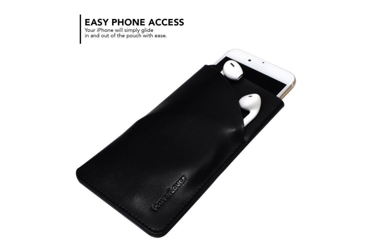 For iPhone 8 7 6S Headphones Pouch iCoverLover Real Top-Grain Leather Bag Black