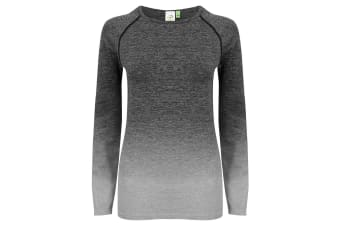 Tombo WomensLadies Seamless Fade Out Long Sleeve Top (Dark Grey/Light Grey Marl)