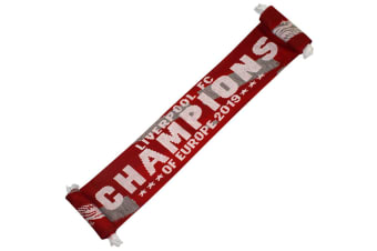 Liverpool FC Champions Of Europe Scarf (Red/White)