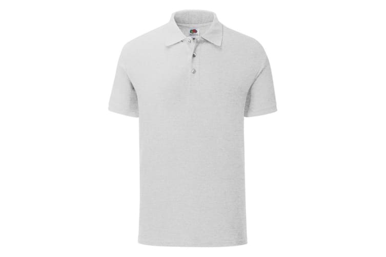 Fruit Of The Loom Mens Iconic Pique Polo Shirt (Heather Grey) (S)