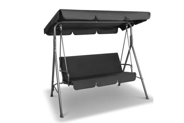 3 Seater Outdoor Canopy Swing Chair Black Kogan Com