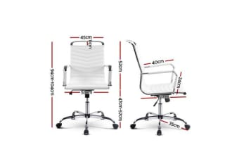 Artiss Eames Replica PU Leather Office Chair Executive Work Computer Seating White