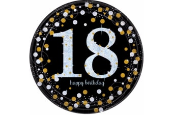 Amscan Sparkling Gold Celebration 18th Birthday Party Plates (Pack of 8) (Black/Pink)