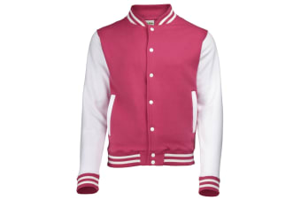 Awdis Unisex Varsity Jacket (Hot Pink / White)