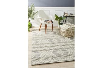 Ryder Natural White & Grey Coastal Wool Textured Rug 280x190cm