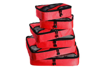 6 Pcs Travel Cubes Storage Toiletry Bag Clothes Luggage Organizer Packing Bags Red