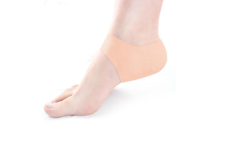 Silicone Moisturizing Gel Heel Protector Plantar Fasciitis Cushion Sleeve for Cracked Dry Foot Skin Nude