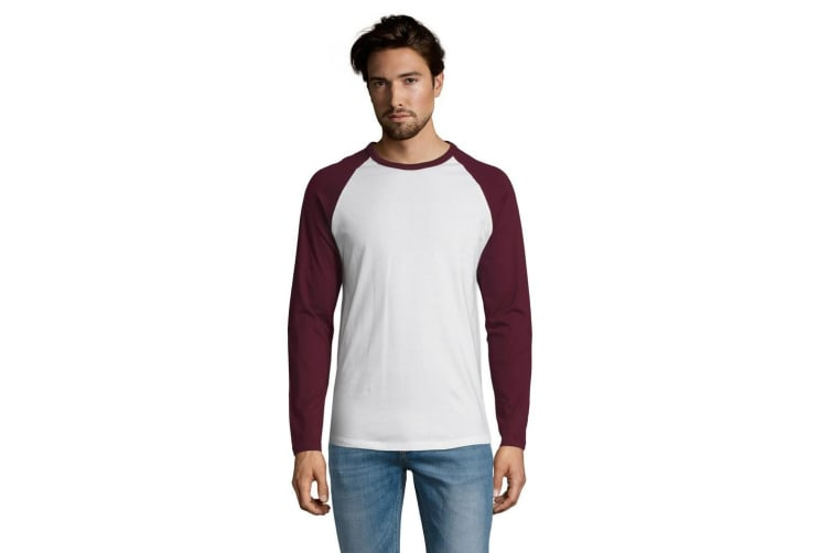 SOLS Mens Funky Contrast Long Sleeve T-Shirt (White/Burgundy) (XXL)
