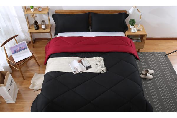 Microfibre Reversible Comforter Set Variant Size BURGUNDY+BLACK - Super King