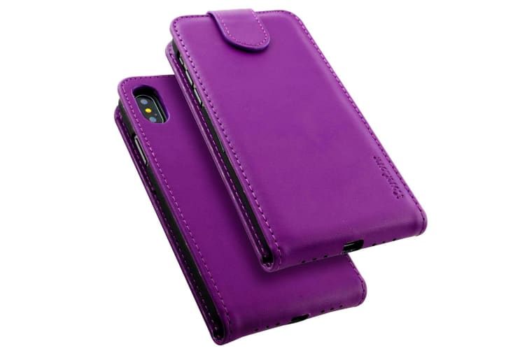 For iPhone XS X Case iCoverLover Vertical Flip Genuine Leather Cover Purple