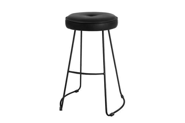 2xArtiss ORION Bar Stools Industrial Bar Stool Modern Dining Chair Leather Black