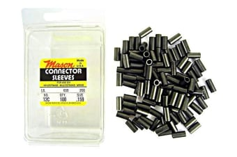 100 x Size 12 Mason Crimps - Crimping Connector Sleeves for Fishing Wire/Line