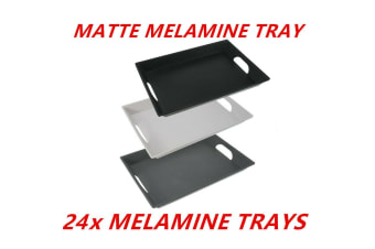 24 x Matte Melamine Serving Tray With Handles 38X28cm Kitchen Party Dinner Plate