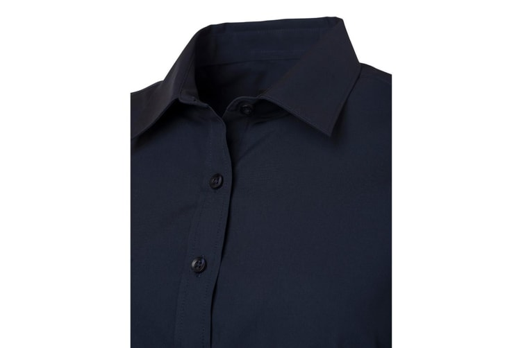 James and Nicholson Womens/Ladies Long Sleeve Poplin Shirt (Navy) (L)