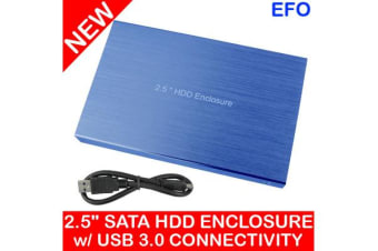 "2.5"" Portable Hdd Hard Disk Drive Enclosure Usb 3.0 Sata Metal Case Caddy Blue"