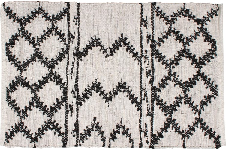 Moatsu Cotton & Leather Rug Hand Knit Aztec