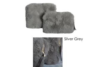 Demi Set of 2 Cosmetic Pouches Silver Grey by J Elliot Home