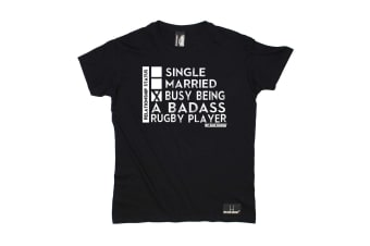 Up And Under Rugby Tee - Relationship Status Badass Player Mens T-Shirt