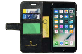 For iPhone 8 PLUS 7 PLUS Wallet Case Card Slots Genuine Cow Leather Cover Black