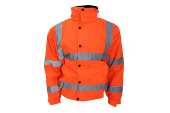 Warrior Memphis High Visibility Bomber Jacket / Safety Wear / Workwear (Fluorescent Orange)