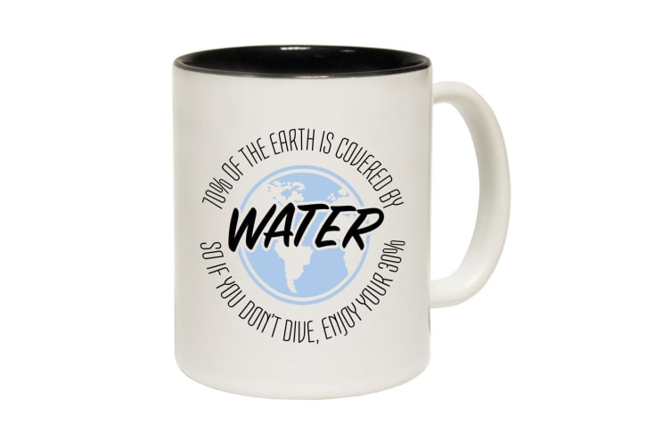 123T Funny Mugs - 70 Of The Earth Covered By Water - Black Coffee Cup