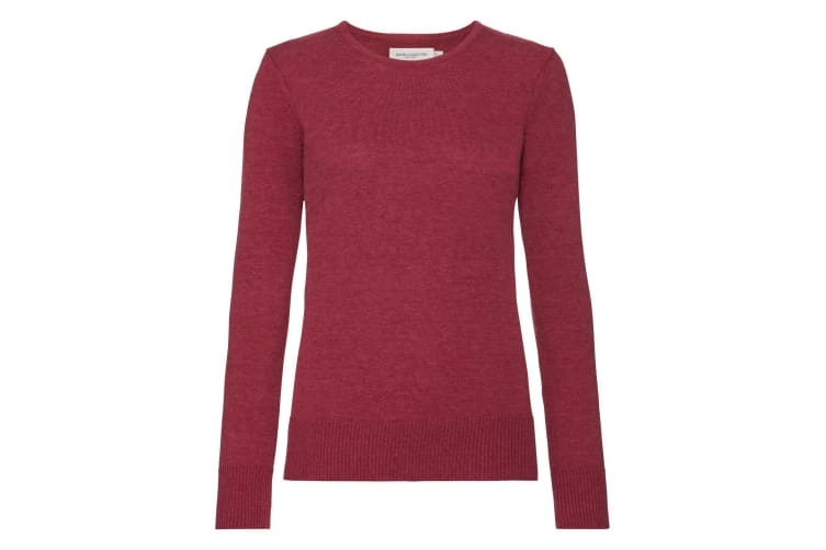 Russell Womens/Ladies Cotton Acrylic Crew Neck Sweater (Cranberry Marl) (XS)