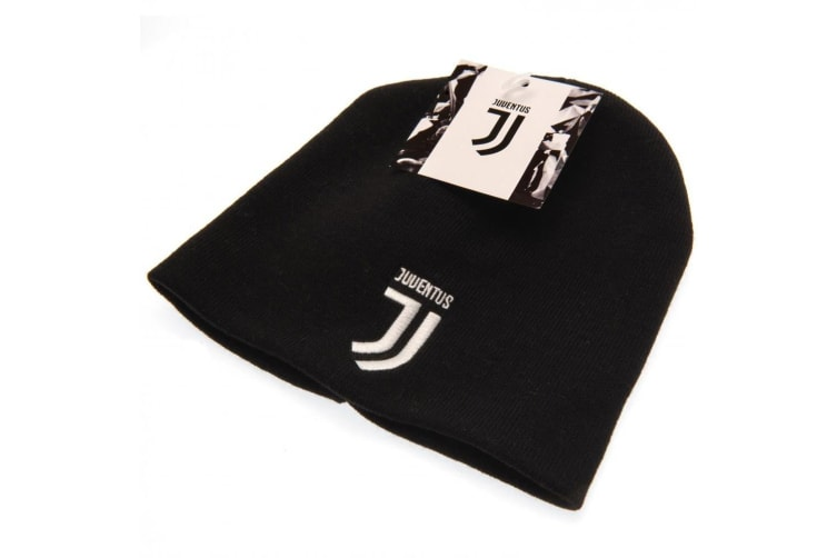 Juventus FC Official Adults Unisex Knitted Hat (Black/White) (One Size)