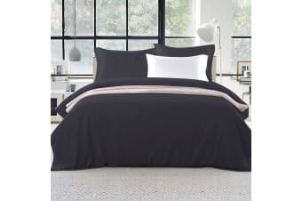 Giselle Bedding Luxury Classic Bed Duvet Doona Quilt Cover Set Hotel King Black