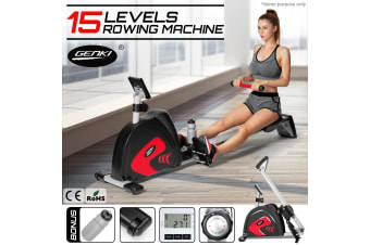 Genki Fitness Rowing Machine Exercise Workout Rower - 15 Levels
